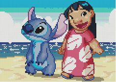 Lilo and Stitch Cross Stitch Pattern van KeenahsCrossStitch op Etsy
