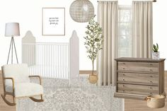 Gender Neutral Nursery - 4 gender neutral nursery ideas for a smaller budget and how to create your own mood boards to plan any room design. #nursery #moodboard