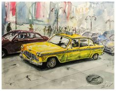 Watercolor Painting Vintage Yellow Taxi by Ivars Selickis on Etsy Hallway Walls, Vintage Yellow, Taxi, Watercolor Paintings, Wall Decor, Nursery, Artwork, Handmade, Etsy