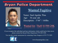 Saul Pina wanted for Theft.