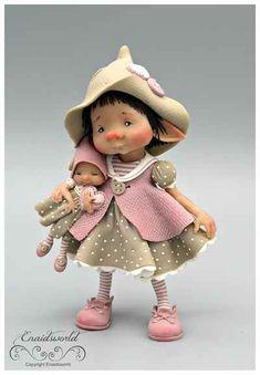 fairy puppets / fotogalerij | enaidsworld Polymer Clay Fairy, Cute Polymer Clay, Polymer Clay Dolls, Tiny Dolls, New Dolls, Cute Dolls, Baby Fairy, Cute Fairy, Clay Fairies