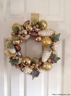 Ornament Wreath, Ornaments, Christmas Wreaths, Xmas, Holiday Decor, Home Decor, Yule, Christmas Garlands, Homemade Home Decor