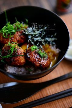 Tori Tsukune Donburi with Garlic & Soy Sauce Donburi (chicken meatballs and rice bowl)