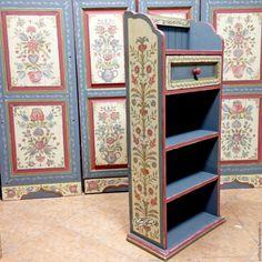 Купить Роспись мебели Полочка - серый, роспись мебели, Роспись по дереву, роспись, роспись акрилом