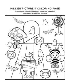 Can you find all the pumpkins, bats, and ghosts in this picture of your friends, Team Umizoomi?