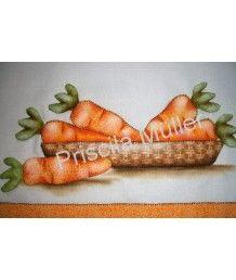 Projeto de Pano de Prato Cenouras