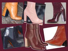 UNIVERSO PARALLELO: Ankle boots: in cuoio chiaro, vernice rosa, pelle ...