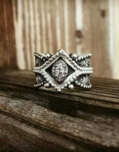 Stunning hand crafted sterling silver Diamond ring