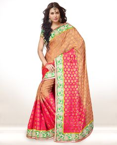 Beige Viscose Saree With Blouse 58386