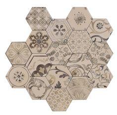 #Examix #Tonalite #Exabright #www.tonalite.it #Tiles #Piastrelle #Carreaux #Azulejos #Hexagonal #Decorated #Texture #Wall Tiles #Floor Tiles #Backsplash #Kitchen #Bathroom
