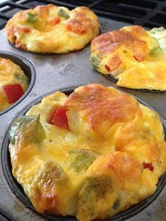 crustless quiche cups. Made twice: once as is, and once with broccoli, red onion, and swiss cheese. A good re-heatable work day breakfast.