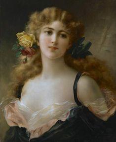 """.   """"Portrait de Jeune Femme"""" by Emile Vernon (1872-1919)."""