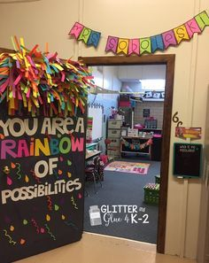 Glitter and Glue 4 My Classroom Check out my classroom reveal! Keywords: rainbow door, classroom door, fun door chalkboard theme, neon classroom,… - Decoration For Home Diy Classroom Decorations, School Decorations, School Themes, Classroom Themes, Classroom Organization, Neon Classroom Decor, Classroom Images, Classroom Design, Future Classroom