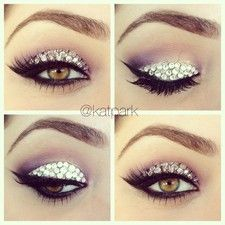 love rhinestones on your lids! do your makeup first, apply lashes then use DUO waterproof adhesive.