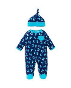 Offspring Infant Boys' Fox Print Footie & Hat Set - Sizes Newborn-9 Months
