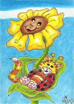 Cat Lady bug Nap Cat-a-Bug aceo EBSQ Kim Loberg Fantasy Insect mini Art flower #IllustrationArt