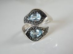 QVC Suspicion Sterling Silver 925 Blue Topaz Vine Organic Bypass Ring Size 9 #qvc #SolitairewithAccents