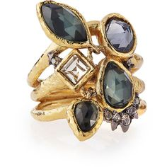 Alexis Bittar Shake Faceted Pyrite Ring ($195) ❤ liked on Polyvore featuring jewelry, rings, confetti, 14k ring, triple ring, 14k jewelry, 14 karat gold ring and stackable band rings