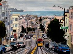 """""""San Francisco Evening""""  22"""" x 30"""" watercolor painting, commissioned piece"""