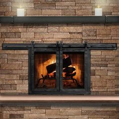 Paterson Sliding Fireplace Door in Matte Black & Stoll Fireplace Inc | Custom Glass Fireplace Doors Heating ...