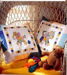 almofadas bichinhos estilo patchwork