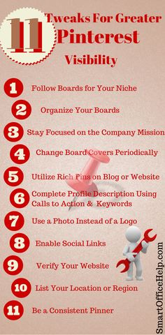 11 Tweaks for Greater Pinterest Visibility - Shared by Elizabeth @ http://smartofficehelp.com/pinterest-visibility
