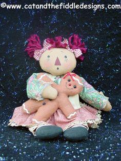CF206 Gingerbread Hugs - PDF ePattern Cloth Doll Pattern Raggedy Gingerbread. $9.00, via Etsy.