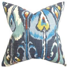 Gudrun Ikat Blue Feather Filled 18-inch Throw Pillow | Overstock™ Shopping - Great Deals on PILLOW COLLECTION INC Throw Pillows