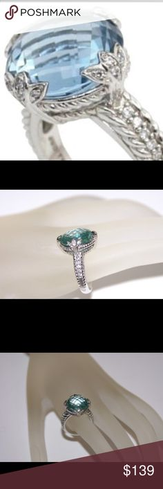 Judith Ripka Blue and Diamonique Ring Sterling Silver, Diamonique and Blue Stone…