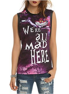 "Sleeveless top with a ""We're All Mad Here"" Cheshire Cat design on the front.<ul><li> 95% polyester; 5% spandex</li><li>Wash cold; dry low</li><li>Imported</li><li>Listed in junior sizes</li></ul>"