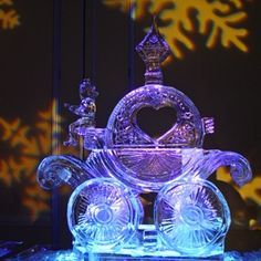 Cinderella's carriage wedding ice sculpture.