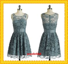 Custom Gray A line Ruffles Sash Fashion Lace Short Cheap Bridesmaid Dress Prom Formal Evening Dress Gown Party homecoming dress on Etsy, $100.80 CAD
