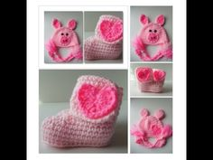 Baby Pig and Booties Set - Piggy Baby #Hat - Photo Prop - Pink Baby Set - Booties with Pink Hearts - Handmade Crochet - Made to Order #Cap #Accessory https://www.etsy.com/listing/184017664/baby-pig-and-booties-set-piggy-baby-hat?ref=shop_home_active_13
