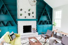 Modern Fireplace. Living Room Makeover East Coast Creative.  DIY Fireplace Makeover.  Painted Fireplace.  Plant Wall.  Mid Century Furniture.