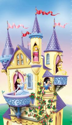Murals on pinterest wall murals disney princess and for Disney princess castle mural