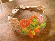 14 FREE Bracelets Crochet Patterns---would make a pretty headband. Thread Crochet, Love Crochet, Crochet Crafts, Yarn Crafts, Crochet Yarn, Crochet Flowers, Crochet Projects, Crochet Headbands, Crochet Things