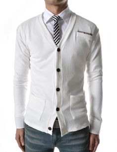 Mens Casual Slim Fit Check Patched Cardigan.