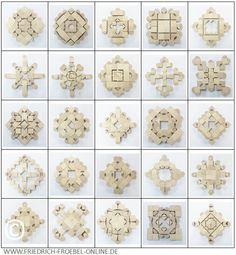 """Fröbel developped different sets of toy blocks. Here are his so-called """"beauty forms"""" laid with the """"play-givings 5 B"""". Block Area, Kindergarten Design, Designer Toys, Mosaic Patterns, Pre School, Activities For Kids, Origami, Bracelet Watch, Projects To Try"""