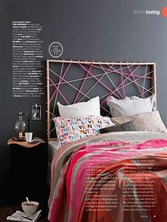 DIY rope headboard.