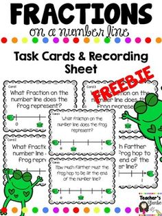 These Fraction Task Cards will help your students learn how to read fractions on a number line. Includes 6 task cards and the recording sheet.The complete Fractions on a Number Line set can be purchased at my store. It contains 24 task cards, 3 center activities and 2 worksheets.Enjoy!