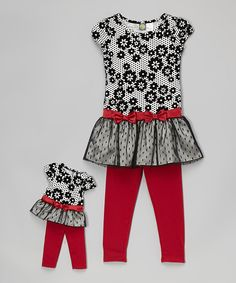 White & Black Floral Tunic Set & Doll Outfit - Girls by Dollie & Me #zulily #zulilyfinds
