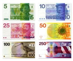 Banknotes of the Dutch Gulden, 1971-1985; designer: Ootje Oxenaar    Had all of them except the 250 note at some point in my wallet.    #graphicdesign #dutchdesign