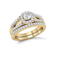 Diamond Halo Engagement Ring Bridal Set Set in 14 Kt Yellow Gold (6.00 gms) with Diamonds (1.05ct)