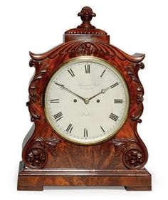 A WILLIAM IV MAHOGANY STRIKING EIGHT DAY TABLE CLOCK