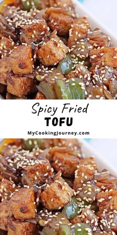 This spicy Air fryer tofu stir fry recipe is perfect to make as an appetizer. The fried tofu is absolutely delicious and takes just under 20 minutes from start to finish. #tofu #appetizer #friedappetizer #mycookinjourney @mycookinjourney | mycookingjourney.com
