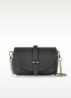 Small Black Leather Shoulder Bag - Le Parmentier