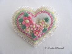 Beaded Felt Heart Pin