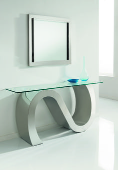 Wave Console - polished stainless steel sculpture with glass top