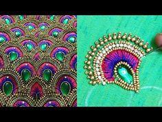 beautiful aari embroidery on blouse sleeves Embroidery Online, Hand Embroidery Art, Hand Embroidery Videos, Tambour Embroidery, Embroidery Techniques, Embroidery Stitches, Embroidery Patterns, Hand Work Blouse Design, Aari Work Blouse