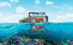 The image is a rendering of one of the 130 villas that will soon be bobbing in the Arabian Gulf. It's connected to a Dubai island, and features fully submerged bedrooms.